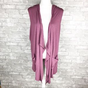 Pink LOGO hooded cardigan with pockets size 1X